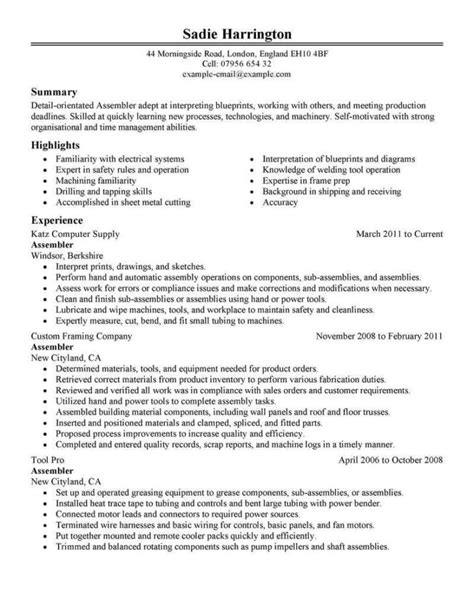 electronic assembly resume quality control resume