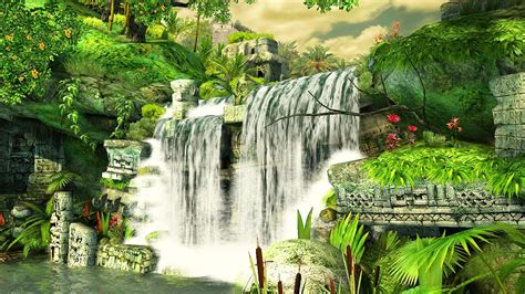 mayan waterfall  screensaver  wallpaper hd youtube