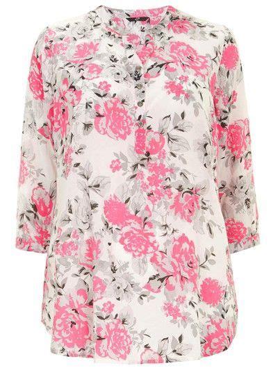 Stradivarius Blouse Pink plus size pink flower print collarless white shirt
