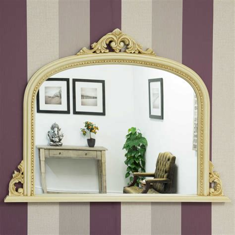 large ornate shabby chic cream overmantle mirror quality affordable