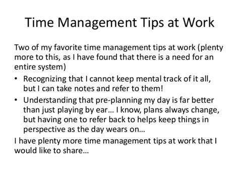 Tips On A For The Time by Time Management Tips At Work