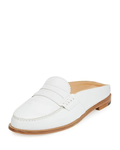 loafer mules manolo blahnik leather loafer mule in white lyst