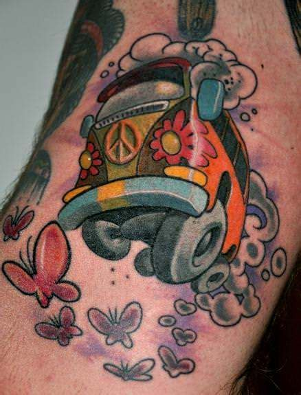 vw bus tattoo a car of a vw volkswagen hippy from the
