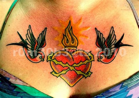 heart tattoos on chest sacred images designs