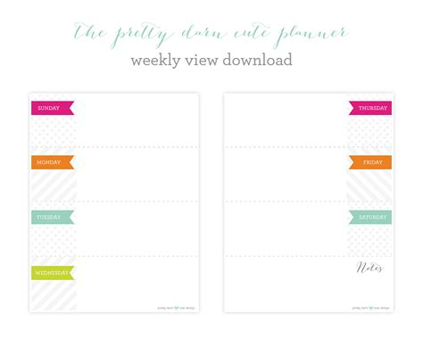 printable weekly calendar planner 8 best images of cute printable weekly calendar template