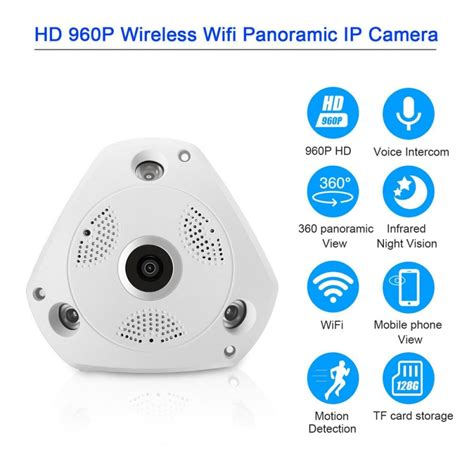 360 Eye Vr Security Fish Eye Lens Wifi Hd 960p Ir appareil photo panoramique 224 360 176 1 3m hd grand angle vision nocturne blanc fr tmart