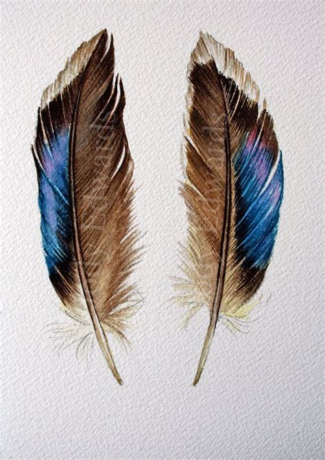 two feathers original watercolor feather painting watercolors feather painting and feathers