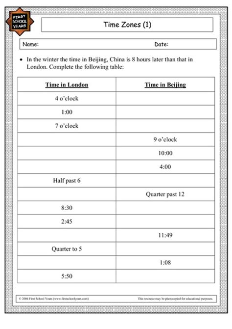 Time Zone Worksheet by Free Worksheets 187 Time Zone Worksheets For Practice Free