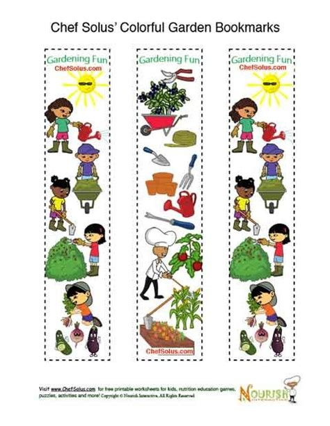 free printable nutrition bookmarks bookmarks printable gardening is fun colorful