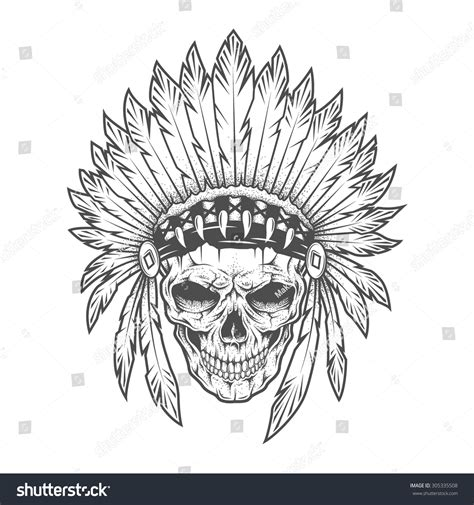 mohawk outline designs indian skull feathers stock vector 305335508 shutterstock