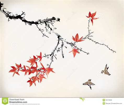 ink style maple leaves stock photo image of branch birds