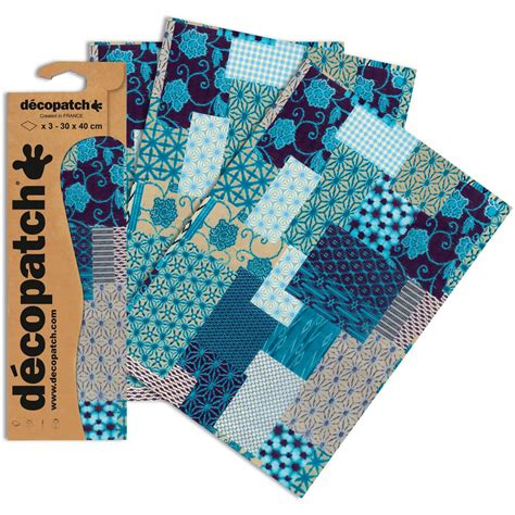 Patterned Craft Paper Uk - decopatch mixed blue patterned paper 3 sheets hobbycraft