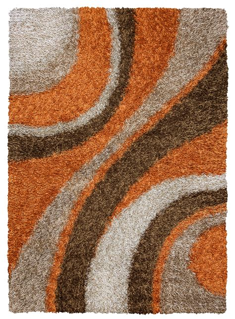 Orange Area Rug 8x10 Kempton Ultra Plush Striped Area Rug In Orange Brown Khaki 8 X 10