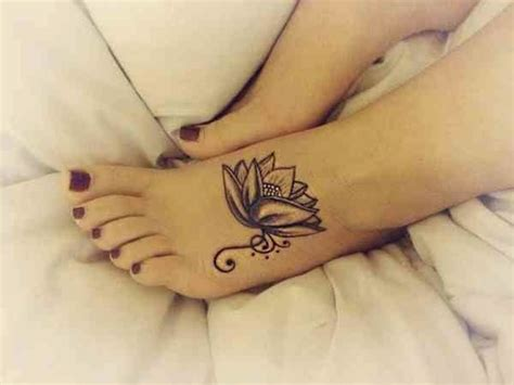 lotus foot tattoo 25 black and white flower foot