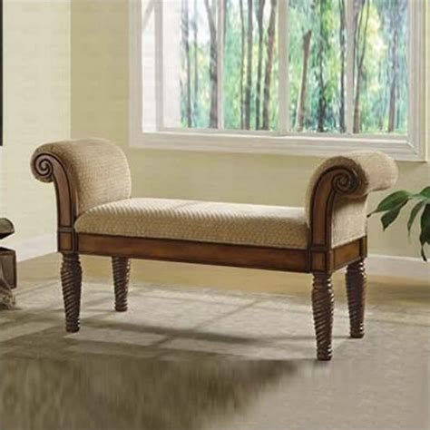 coaster upholstered bench w rolled arms living room benche