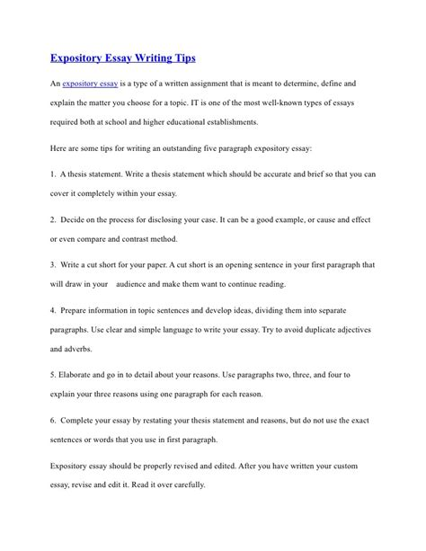 tips on writing a paper expository essay writing tips