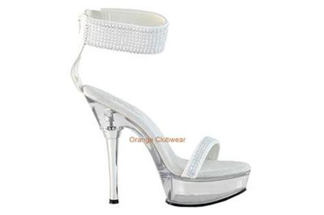 Lobo Glossy White Pointed Toe High Heels Import pleaser clear platform rhinstone detail white bridal sandals high heels shoes