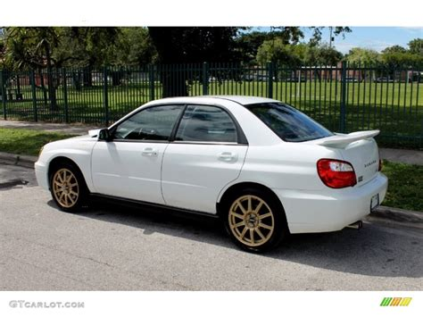 subaru sedan white aspen white 2004 subaru impreza wrx sedan exterior photo