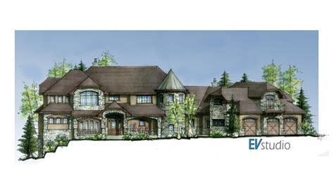 Luxury Home Office Design - hand colored rendering of soda creek home completed evstudio architect engineer denver