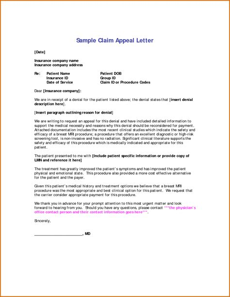 Insurance Claim Letter Format 13 appeal letter for insurance claim lease template