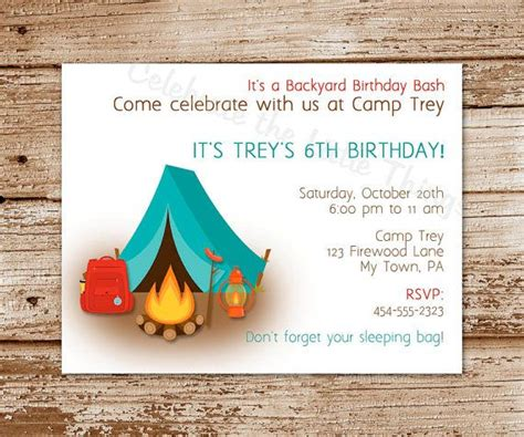 camp out invitations printable free free printable camping birthday invitations printable