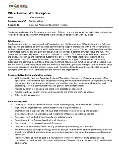 Resume Job Description Sample by Office Assistant Job Description Resume 2016