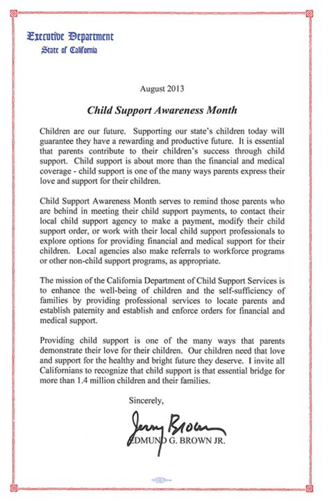 Support Letter From Employer Child Support Awareness Month 2013