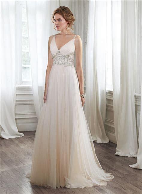 sheer beaded wedding dress stunning a line v neck sheer back tulle beaded