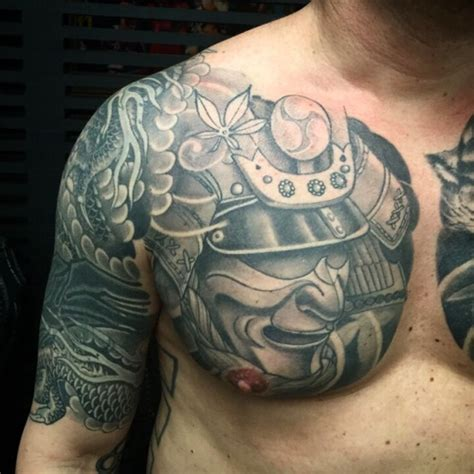 black and grey chest tattoos 21 best samurai chest tattoos designs