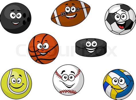 Bola Golf Mixed illustration of a set of happy sporting balls and