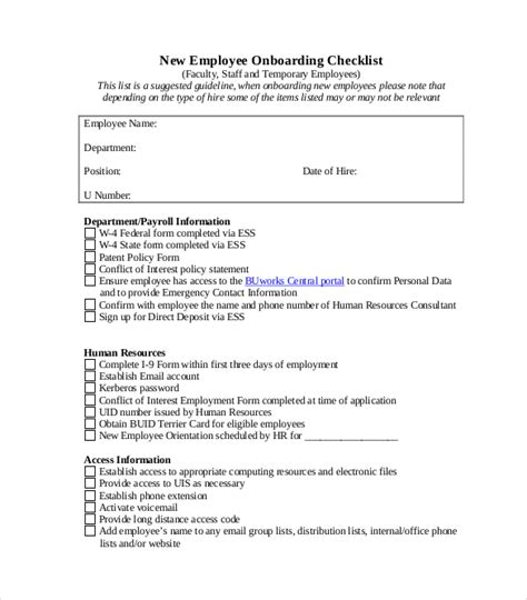 Onboarding Checklist Template 15 Free Word Excel Pdf Documents Download Free Premium Employee Onboarding Template