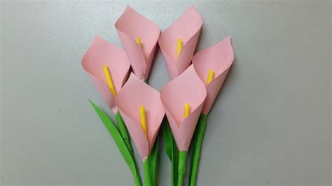 Make Simple Paper Flowers - how to make calla paper flower easy origami flowers