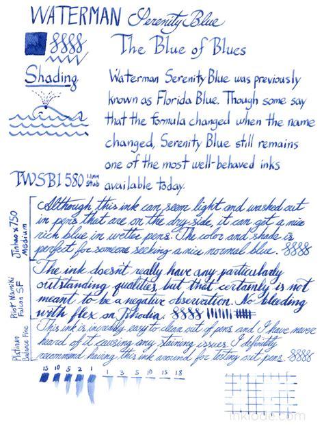 blue reviews waterman serenity blue inklode pens inks