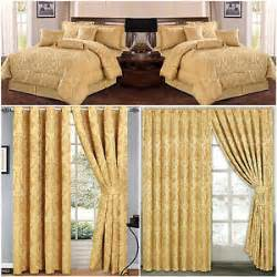 Matching Duvet And Curtain Sets Jacquard Luxury 7 Piece Gold Comforter Set Bedspread
