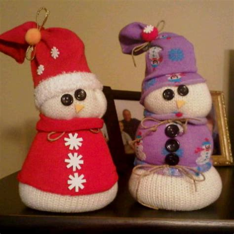 sock snowman craft with rice rice snowman and sock on