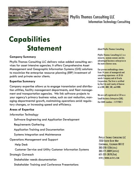 phyllis thomas consulting capability statement