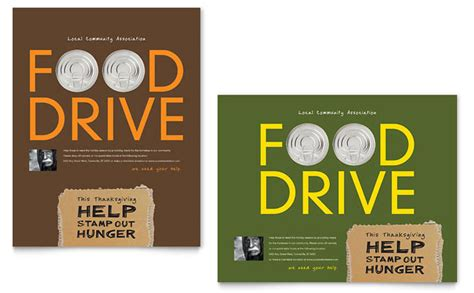 Holiday Food Drive Fundraiser Poster Template Design Drive Flyer Template