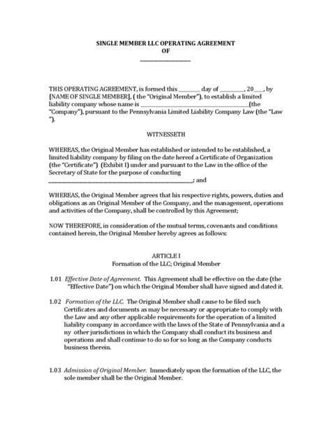 single member llc operating agreement template llc operating agreement single member