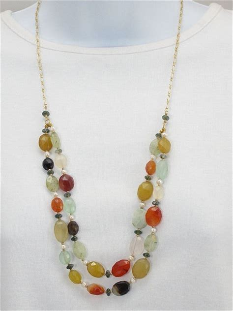 Kalung Necklace Layer Ka16496 pearl gemstone chain necklace multi colored strand gold chain semi precious stones