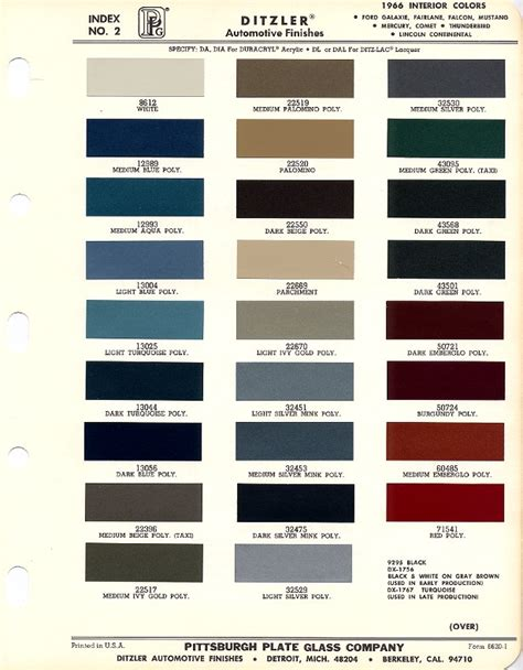 1966 mustang interior paint charts maine mustang misc auto paint charts