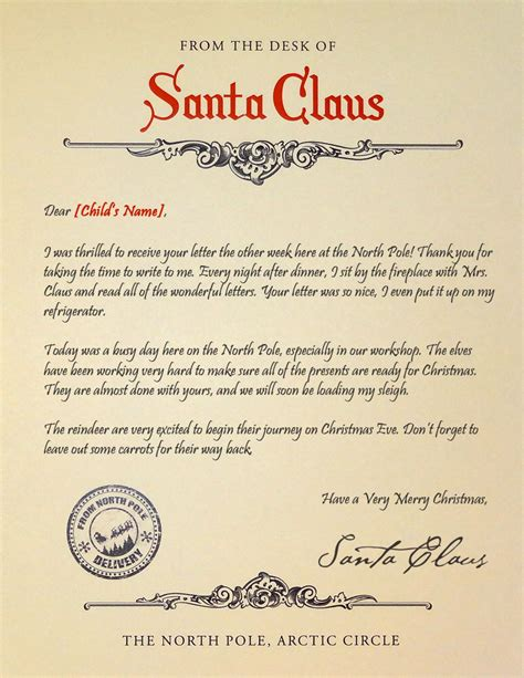 Santa S Reply Letter Mailed Or Delivered Digitally Free Santa Reply Letter Template