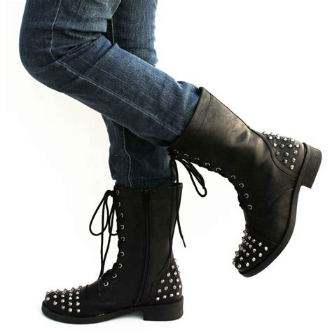 new womens fa33 black studded spike mid calf