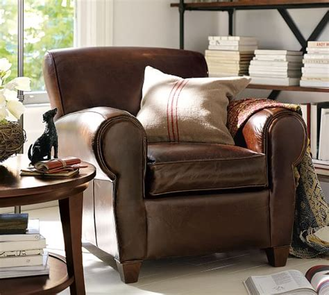 pottery barn armchair manhattan leather armchair pottery barn