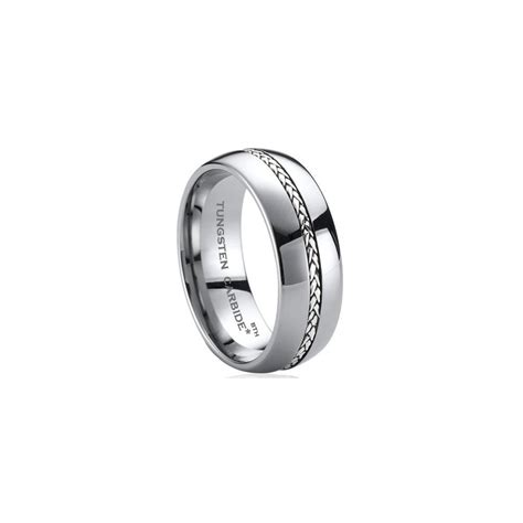 Tungsten Wedding Bands Comfort Fit by 925 Silver Inlay Tungsten Carbide Comfort Fit Wedding