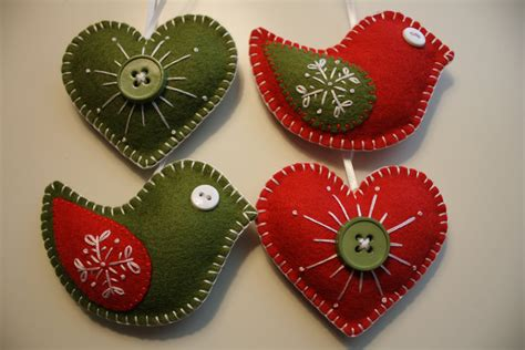 christmas felt ornaments birds and hearts by georgenruby