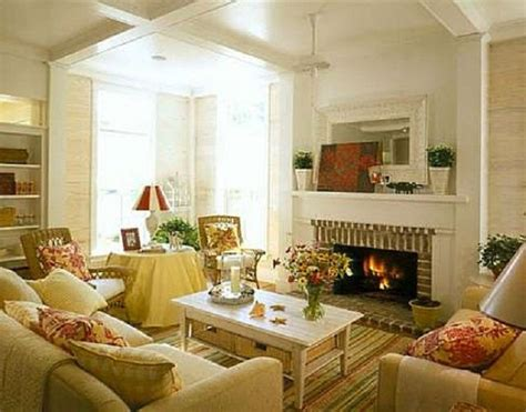 country home decorating ideas living room cottage styled brick fireplace with white wooden coffee