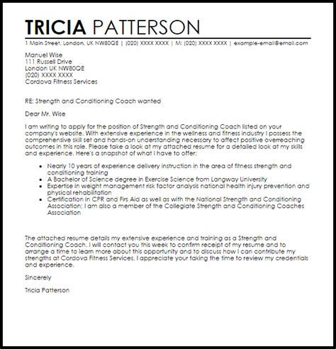 Cover Letter Writing Resume strength and conditioning coach cover letter sample