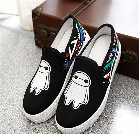 Sepatu Slip On Baymax Slippers Baxmax Casual Shoes 1 baymax image printed canvas shoes 2016 fashion slip on footwear office canvas trainer