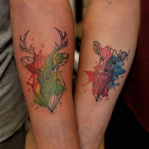 geometric tattoo couple watercolor geometric deer tattoo creativefan