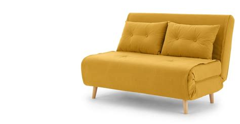 small sofa bed haru small sofa bed in butter yellow made com